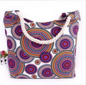 Printed Canvas Shoulder Bag Fashion Bag Canvas Mummy Bag Cotton Rope Handbag Beach Bag