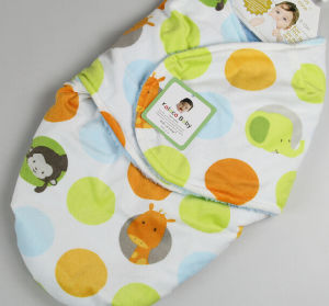 Baby Swadlle Me Animal Baby Blanket Cover Hat Flannel Knit Edge