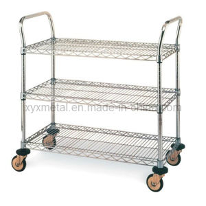 3 Tiers Chrome Shelf Cart Rolling Wire Mesh Shelving pictures & photos