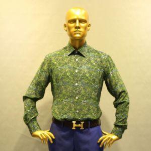 69e3c855b6 China High Quality Men′s Summer Shirt Green Flower Pattern Casual ...