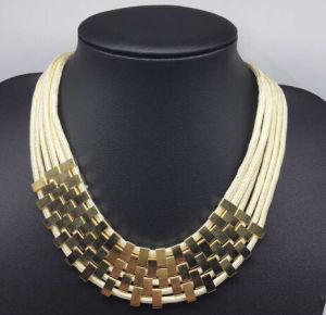Six Roll Cord with Big Alloy Fitting Gold Plating Necklace (XJW13750)