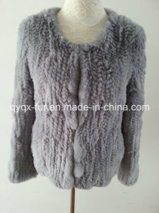 Light Grey Color Knitted Real Rex Rabbit Fur Coat Short Style