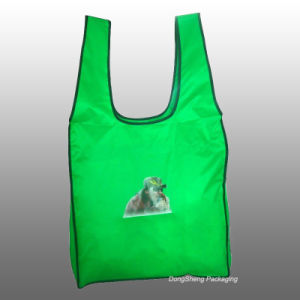 Newest Design Green T-Shirt Nylon/Polyester Foldable Shopping Bag