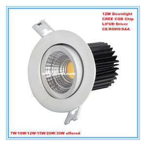 CREE COB 12W LED Downlight for Hotel/Home/Office/Supermarket Lighting