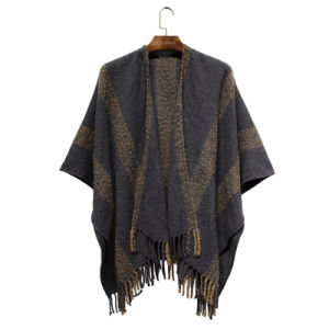 Woman Fashion Striped Acrylic Knitted Winter Fringe Woven Shawl (YKY4494) pictures & photos