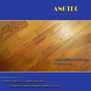 Handscraped Engineered Oak Flooring Brownish Red with 2mm Top Layer pictures & photos