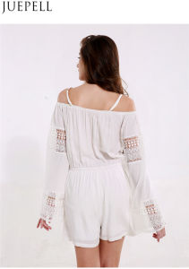 Us Women′s Summer Strapless Lace Stitching Straps Hollow White Solid Color Long Sleeve Jumpsuit Piece Shorts pictures & photos
