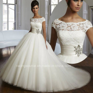 Empire Boat Neckline Bridal Gown Cap Sleeve Wedding Dresses pictures & photos