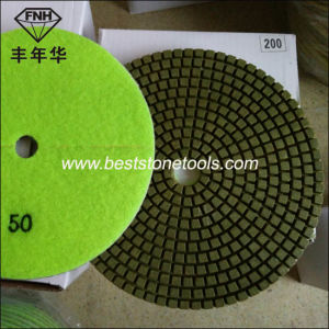 Hook & Loop Diamond Flexible Resin Wet Dry Polishing Pad for Concrete