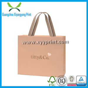 Custom Kraft Paper Shopping Storage Bag With Gold Stamp Logo