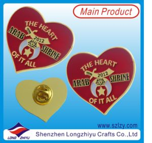Custom Heart Shape Lapel Pin with Hard Enamel (LZY-10000287) pictures & photos