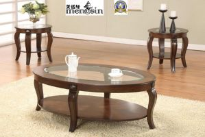 Furniture Classical Oval End Dining Wood Glass Coffee Table