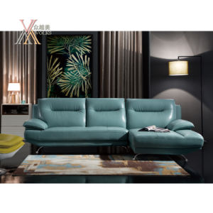 Blue Leather Sofa Set with Chrome Leg (831)