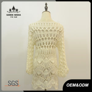 Women White Long Sleeve Crochet Dress pictures & photos