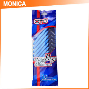 Blue Rubber 3 Triple Blade Disposable Razor with 10PCS Packaging