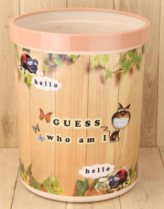 Fashion Round Garbage Bin Paper Basket for Living Room (FF-5225-1)