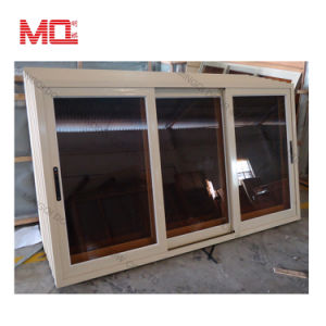 Three Track Brown Reflective Glass Aluminum Sliding Window