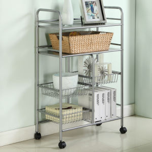4 Tier Carbon Steel Wire Shelving Food Cart Kitchen Accessories Metal Storage Trolley Shelf