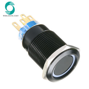 19mm 12V Car Blue LED Power Push Button Switch Black Aluminum Metal Latching BE