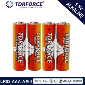 AAA Size Lr03 1.5V Alkaline Dry Battery in Shrink Pack (LR03-AAA-AM4)