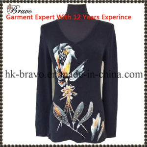 Fashion Ladies Round Neck Long Sleeve Knitted Printing Sweater with Stone (BR081)