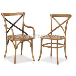 Rch-4002 French Style Rattan Wood Solid Oak Cross Back Chair pictures & photos
