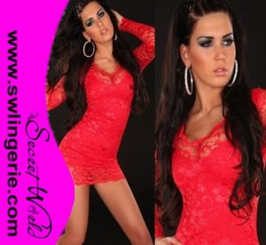 Wholesale Double Layered with Long Sleeves and Floral Lace Outside Sexy Clubwear Party Lingerie Dress 5410-Red