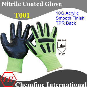 10g Green Acrylic Fiber Knitted Glove with Black Nitrile Smooth Coating & TPR Back/ En388: 3122 (T001) pictures & photos