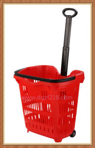 40L Superior Colored Plastic Trolley Shopping Basket for Sale