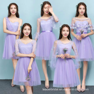 Cheap Cocktail Party Dresses Blue Champagne Purple Lace Bridesmaid Dresses Z5080 pictures & photos
