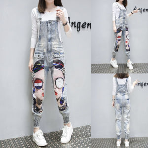 d96f164f0e9c Women′s Ripped Jeans Casual Calf Length Cartoon Denim Overalls Washed Print  Ripped Hole Overalls with Suspender Women Jumpsuit Denim Jeans Printed  Floral ...