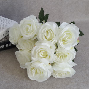10 Head White Artificial Flowers Silk Rose Bush for Wedding Decoration