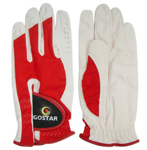 Red and Pear White Cabretta Golf Glove (CGL-39) pictures & photos