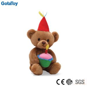 Custom Plush Toy Happy Birthday Teddy Bear Stuffed Soft Toy with Cake