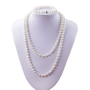 Snh 925 Silver 8mm off Round 47inches Real Freshwater Pearl Set