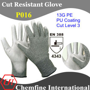 13G PE Knitted Glove with White PU Coated Palm/ En388: 4343 pictures & photos