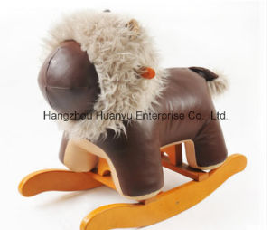 Wooden Stuffed Rocking Animal-Brown Leather Lion Rocker pictures & photos
