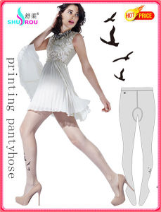 Fashion Sexy Trans-Printing Bird Patterned Tights Pantyhose Silk Socks Stockings for Women (SR-1286)