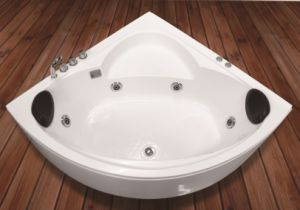 Popular Whirlpool Massage Corner Acrylic Bath Tub with Handle and Pillow