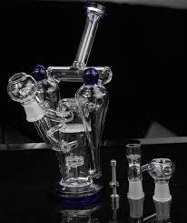 Thickened Glass Water Pipe Black White Oil Rigs Style