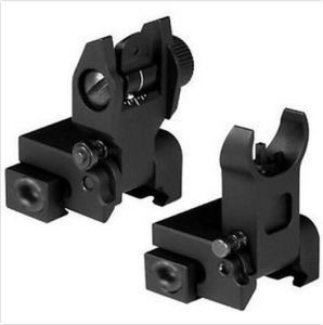 Premium Defense Iron Sights Set Front & Rear Flip up Flattop A2 for Rifle