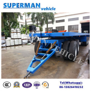 9m 4 Axle Flatbed Drawbar Pulling Cargo Turntable Trailer pictures & photos