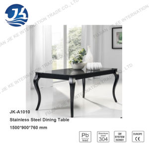 Europe Cabriole-Style Stainless Steel Dining Table with Black Glass