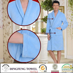 Super Soft Solid Color Coral Fleece Bathrobe Df-8821 pictures & photos