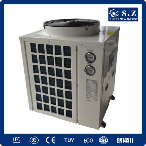 All Day Heating 30deg. C for 25~240cube Meter Water 12kw/19kw/35kw/70kw Cop4.62 Thermostat Swimming Pool Heat Pump Split Top Fan pictures & photos