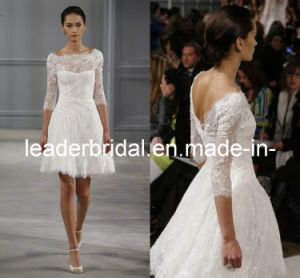 Beach Wedding Dresses 3/4 Sleeves Boat Neck Lace Short Knee Length Short Bridal Dress Beach Bridal Wedding Gowns H1307141 pictures & photos