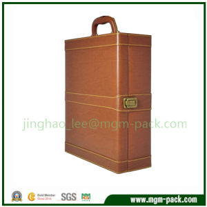Luxury Brown Leather Wrapping Wooden Wine Box pictures & photos