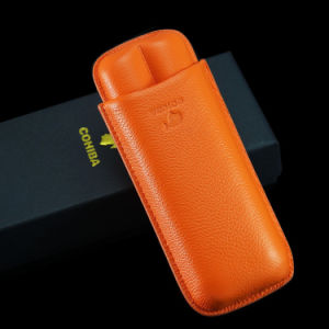 Cohiba Orange Soft Leather Cigar Case Holder 2 Tube (ES-EB-117) pictures & photos