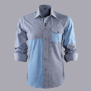 100% Cotton Men′s Denim Casual Long Sleeve Shirt with Garment Wash