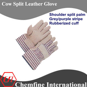 Shoulder Split Palm, Grey/Purple Stripe, Rubberized Cuff Leather Work Gloves pictures & photos